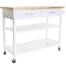 Kitchen Island Cart with Open Shelves