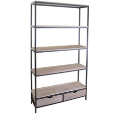 4 Tier Avoca Industrial Bookcase with 2 Drawers