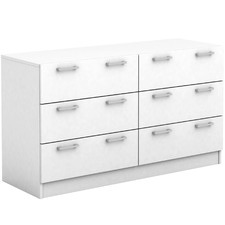 White Tribeca 6 Drawer Lowboy Dresser