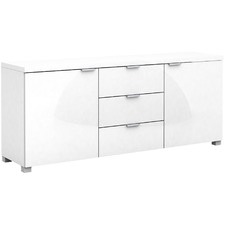 White Gloss Kyana Triple Drawer Buffet