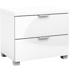 White Kyana Double Drawer Bedside Table