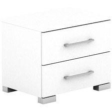 White Tarin Bedside Table with Drawers
