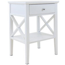 White Long Island 1 Drawer Bedside Table