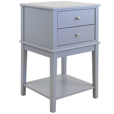 Grey Chloe 2 Drawer Side Table