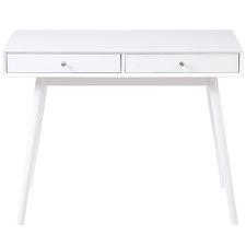 White Oscar Bevelled Edge 2 Drawer Desk