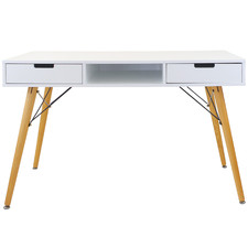 White Eames Replica 2 Drawer Study Desk