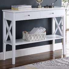 White Long Island 2 Drawer Console Table