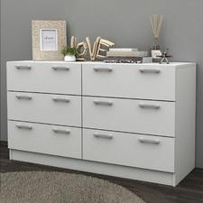 White Tribeca 6 Drawer Lowboy Dresser