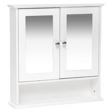 White Odessa Wall Mounted Mirrored Bathroom Cabinet
