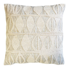 Natural Embroidered Ava Cotton-Blend Cushion