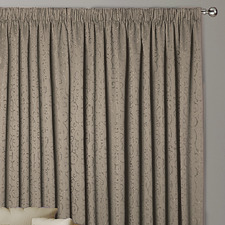 Taupe Abigail Pencil Pleat Curtains (Set of 2)