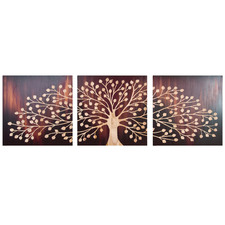 Rustic Tree Wooden Wall Art Triptych