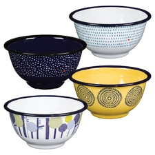 Raindrops Enamel Bowls (Set of 4)