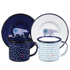 Espresso Enamel Cups & Saucers (Set of 2)