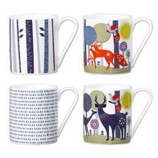 Folkloric Ceramic Mugs (Set of 4)