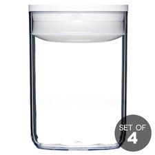 1L White Round Pantry Jar (Set of 4)