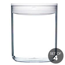 3.2L White Round Pantry Jar (Set of 4)