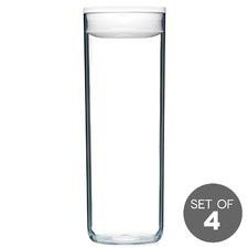 2.4L White Pantry Round Spaghetti Jar (Set of 4)