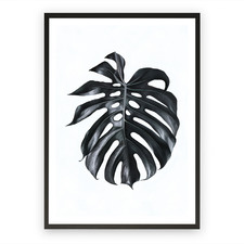 Black Monstera Leaf Printed Wall Art