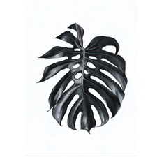 Black Monstera Leaf Printed Wall Art