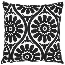 Marguerite Black Cotton Cushion