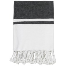 Calais Black Cotton Throw Rug
