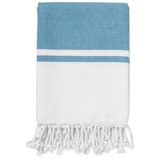 Calais Blue Cotton Throw Rug