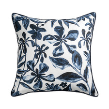 Navy Printed Cassis Linen-Blend Cushion