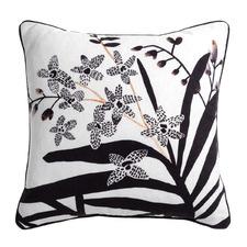 Noir Printed Ikeda Linen-Blend Cushion