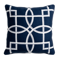 Navy Rue Reversible Cotton-Blend Cushion