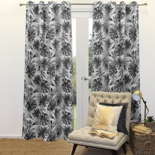 Graphite Print Foliage Single Panel Eyelet Curtain