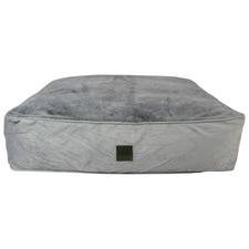 Grey Plush Dog Floor Cushion