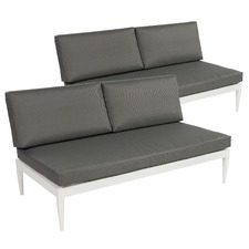 Lorne Double Armless Outdoor Sofas (Set of 2)