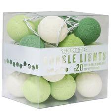 Green Blossom Cotton Ball String Lights
