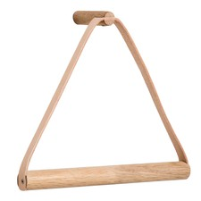 Leather & Oak Wood Towel Hanger