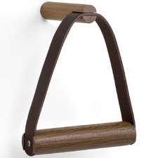 Leather & Oak Wood Toilet Paper Holder