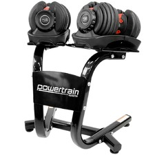 Powertrain 48kg Adjustable Dumbbells with Stand (Set of 2)