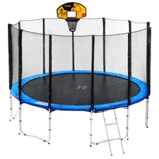 Blue Blizzard Trampoline with Basketball Set