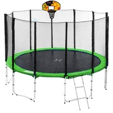 Sky High Springless Trampoline with Basketball Set