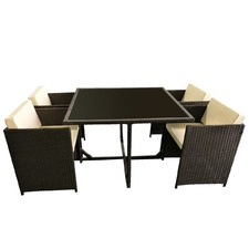 4 Seater Cube Outdoor Dining Table & Chair Set
