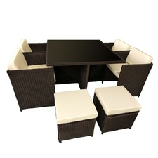 8 Seater Cube Outdoor Dining Table & Seat Set