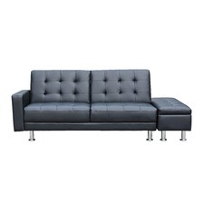 Yorn 3 Seater Faux Leather Sofa Bed with Ottoman