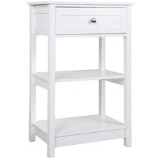 White Aria Bedside Table with Shelves