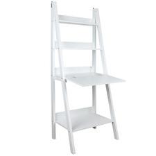 White Ladder Shelf with Fold-Down Desk