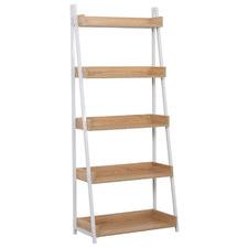 Natural & White Norah 5 Tier Ladder Shelf