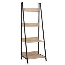 Natural & Black Corbin 4 Tier Ladder Shelf