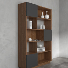 Walnut & Grey Johnson Wide Bookcase