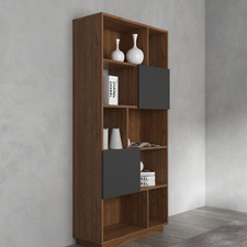 Walnut & Grey Johnson Narrow Bookcase