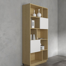 Natural & White Moore Narrow Bookcase
