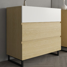 Natural & White Moore 3 Drawer Chest